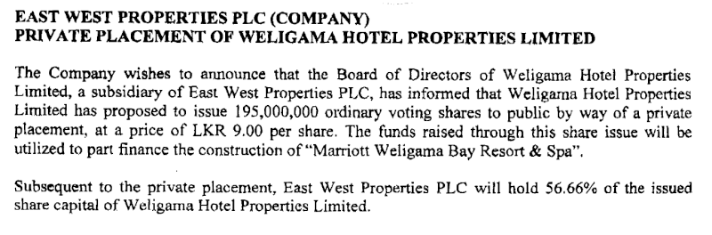 08-Apr-2013 East West Properties - Private Placement of  Weligama Hotel Properties Ltd East10