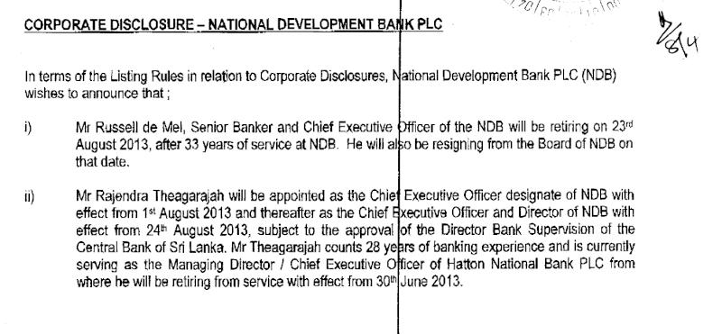 08-Apr-2013 Corporate Disclosure - National Development Bank  Ndb12