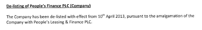 10-Apr-2013 Notification of Listing People's Leasing & Finance & De-listing People's Finance Pf10
