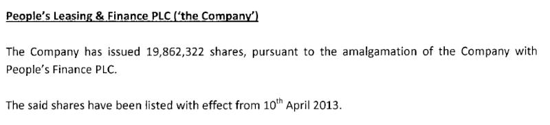 10-Apr-2013 Notification of Listing People's Leasing & Finance & De-listing People's Finance Plf10