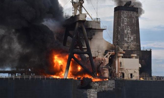Explosion et incendie sur un pétrolier près du Sri Lanka Newdia11