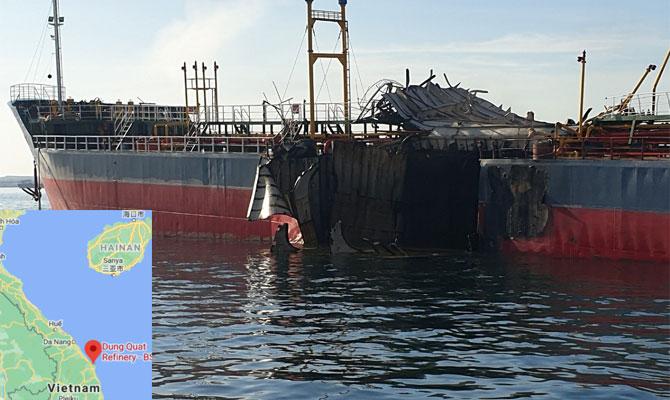 Tanker hit by devastating explosion, Vietnam Trungt10