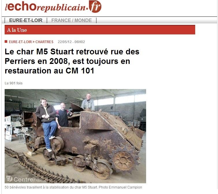 Le char M5 Stuart retrouvé rue des Perriers en 2008, est toujours en restauration au CM 101 Stuart10