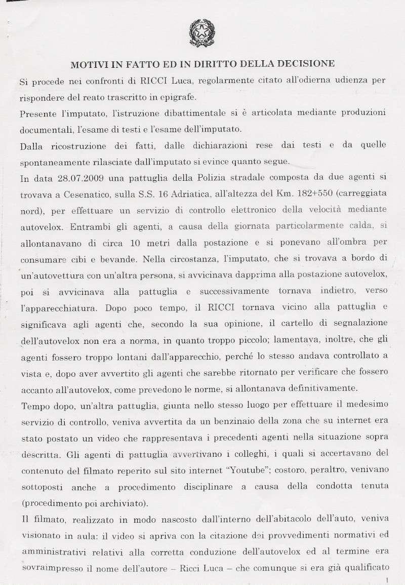 SENTENZA DOTT. ALESSANDRO TRINCI - TRIBUNALE PENALE DI CESENA - ASSOLUZIONE CON FORMULA PIENA - filmato youtube autovelox e gelato Trinci11