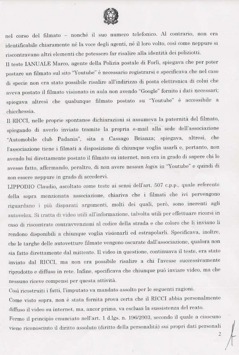 SENTENZA DOTT. ALESSANDRO TRINCI - TRIBUNALE PENALE DI CESENA - ASSOLUZIONE CON FORMULA PIENA - filmato youtube autovelox e gelato Trinci12