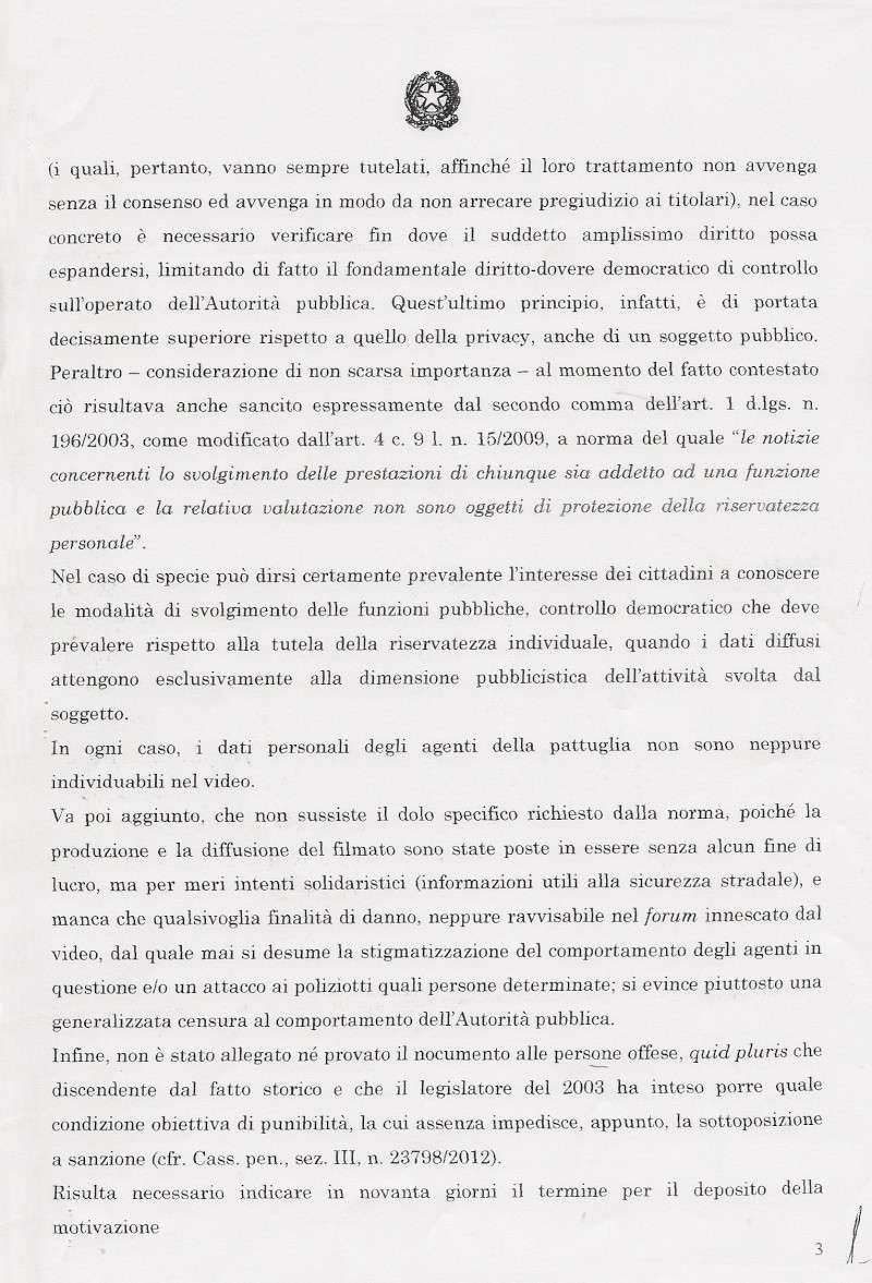 SENTENZA DOTT. ALESSANDRO TRINCI - TRIBUNALE PENALE DI CESENA - ASSOLUZIONE CON FORMULA PIENA - filmato youtube autovelox e gelato Trinci14