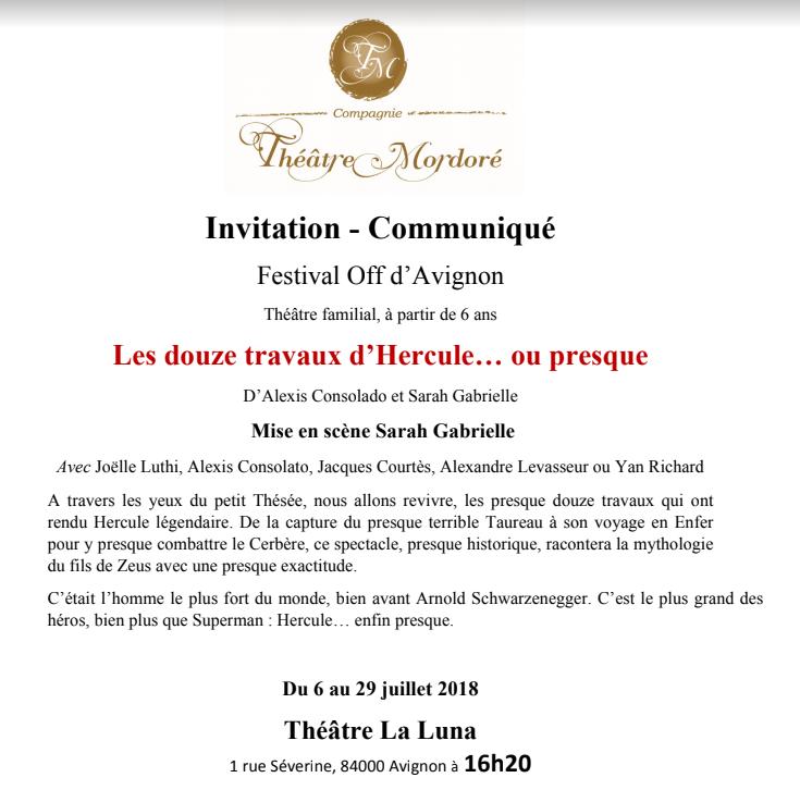"""[Théâtre] """"Les douze travaux d'Hercule (ou presque)"""" avec Jacques Courtès Invit11"""
