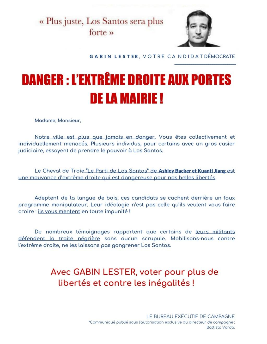 COMMUNIQUE : Los Santos se mobilise contre l'extrême droite de Ashley Backer ! Commun10