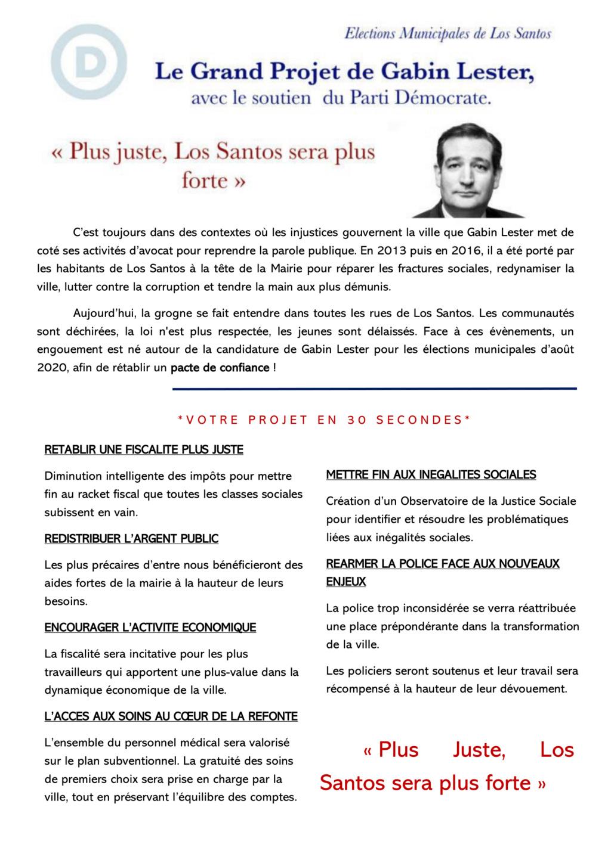 (FLYER) Le Grand Projet de Gabin Lester, candidat démocrate.  Projet10