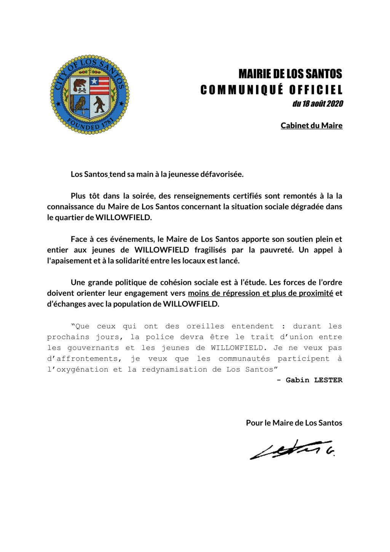 Mairie de Los Santos : Le Maire s'engage aux cotés des jeunes de WILLOWFIELD Willow10