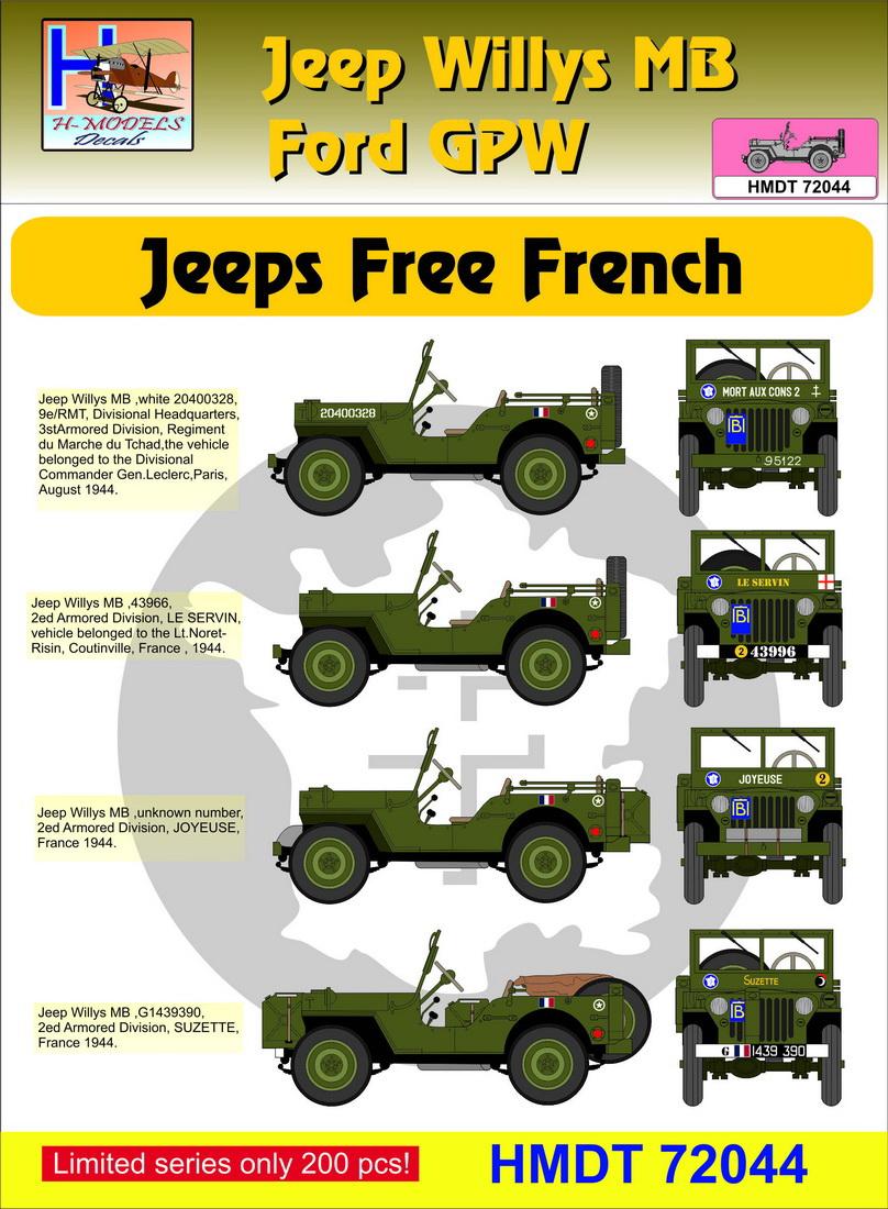 """Planche de decals """"Jeannette"""" et Jeeps disponible Hmt72011"""