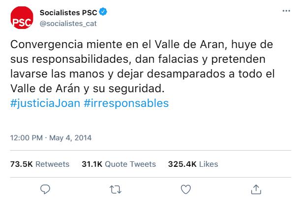 Redes Sociales del PSC y de sus dirigentes Abe94810