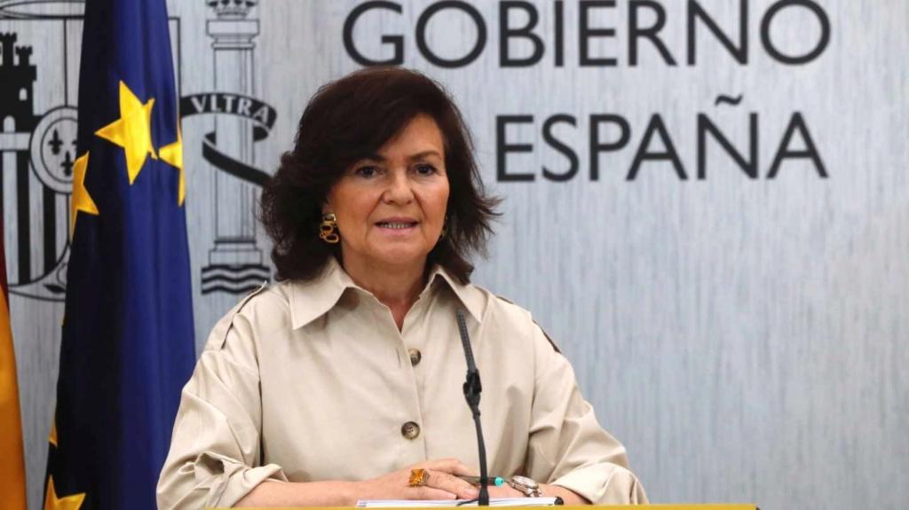 """[GOBIERNO] Carmen Calvo rueda de Prensa 8 de Julio. """"La base de la política está en el diálogo, en el acuerdo, en la predisposición de escuchar y de atender a todas las sensibilidades"""" Carmen12"""