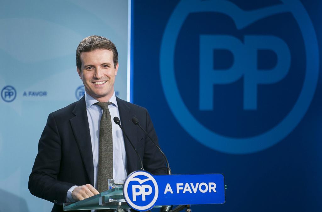 """[PP] Pablo Casado:  """"Las instituciones democráticas han parado los pies al golpismo del señor Sánchez"""" Rueda_10"""