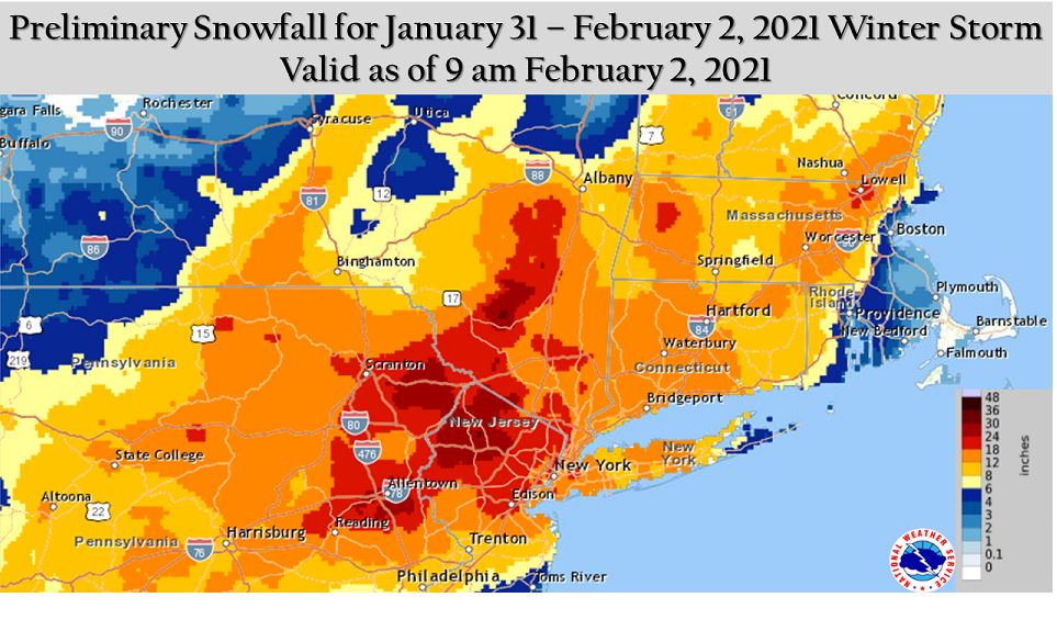 Post snow totals for Jan 31-Feb 2 2021 storm Box10