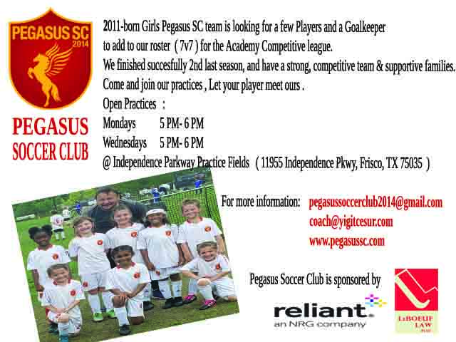 PEGASUS SC looking for 1-2 players and Goalie Oyuncu11