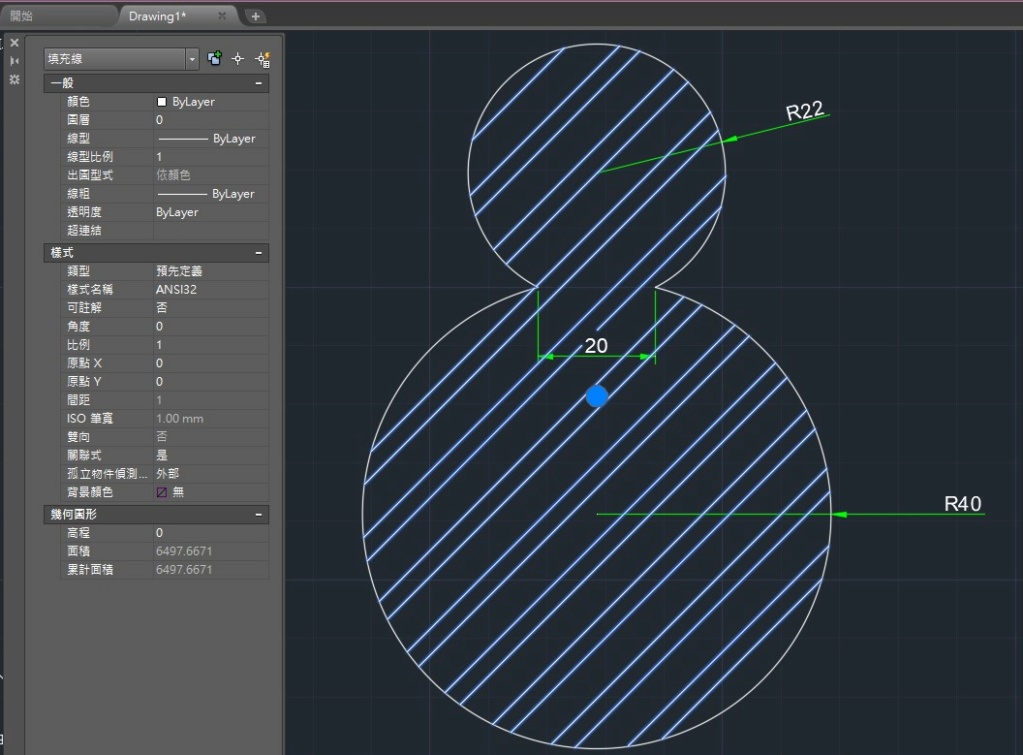 AutoCAD教學 幾何圖形習題03 311