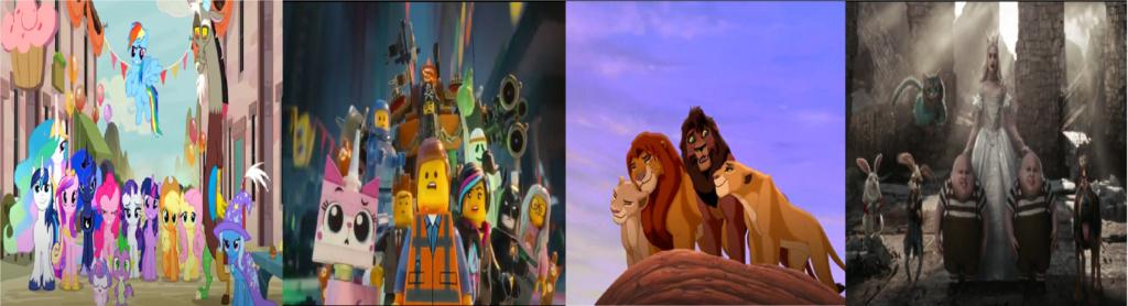 las comparaciones y coincidencias de: El Rey León 2, MLP, Alice in Wonderland y The LEGO Movie (2014) Juntos10