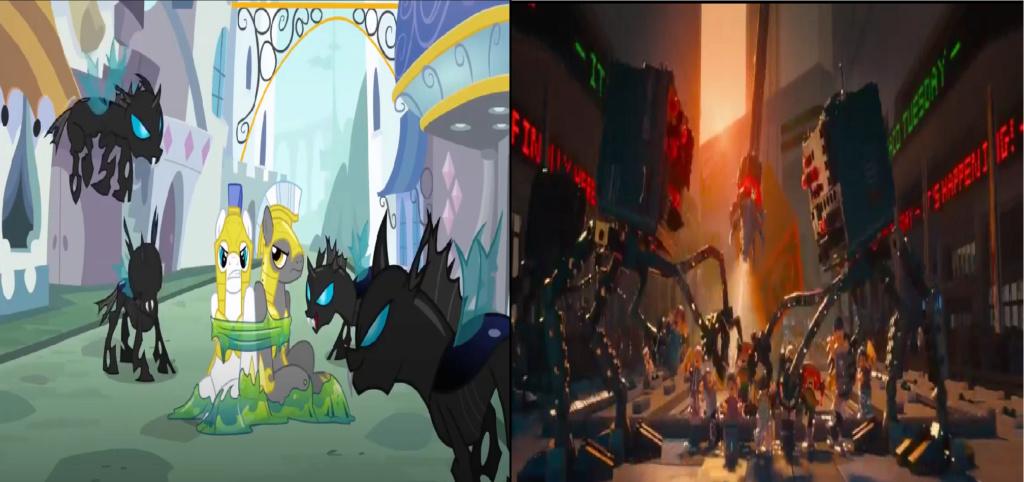 las comparaciones y coincidencias de: El Rey León 2, MLP, Alice in Wonderland y The LEGO Movie (2014) Pegado10
