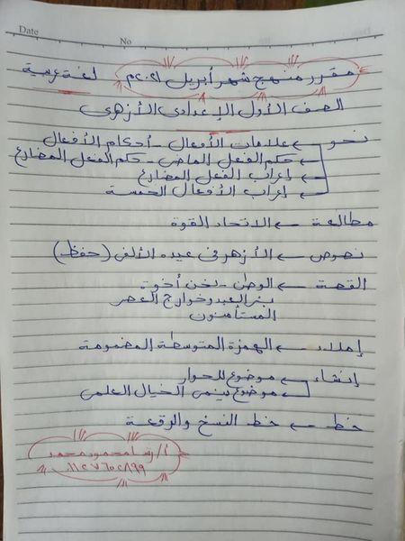 مقرر شهر أبريل لغة عربية للصف (الأول _الثاني _الثالث ) الإعدادي الأزهري 115