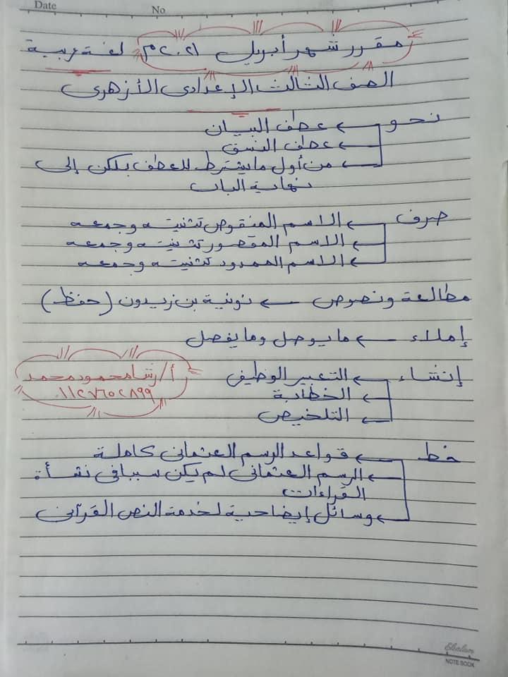 مقرر شهر أبريل لغة عربية للصف (الأول _الثاني _الثالث ) الإعدادي الأزهري 312
