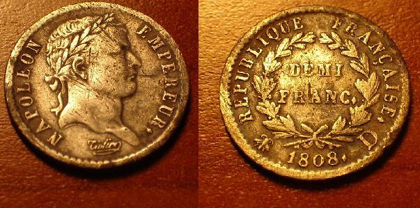Demi-franc Napoléon Ier 1808 D. Napola10