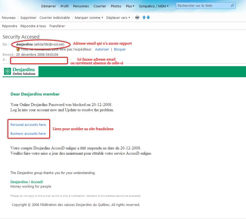 Tentative d'hameçonnage(Phishing) ce qu'il faut savoir Accesd12
