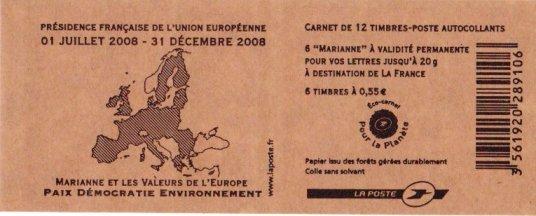 Carnet de timbres dont le papier est issu de forêts gérées durablement Timbre11
