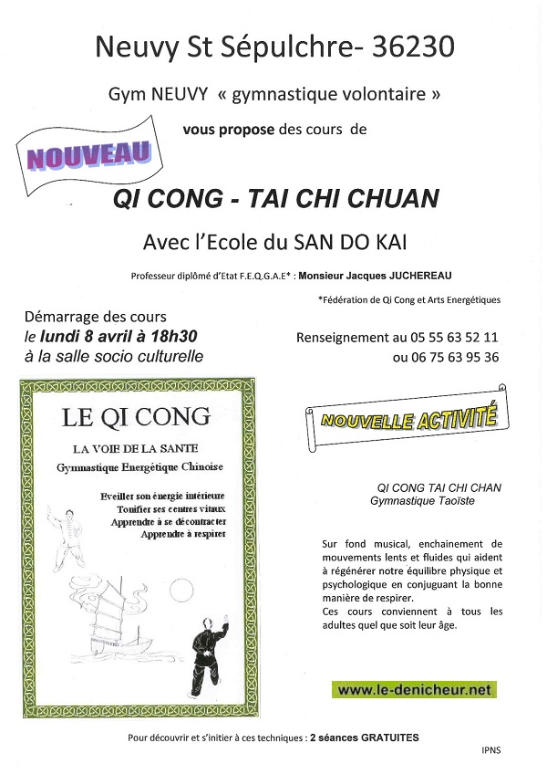 NEUVY ST-SEPULCHRE - - Cours de QI KONG - TAI CHI CHUAN 2013-n10