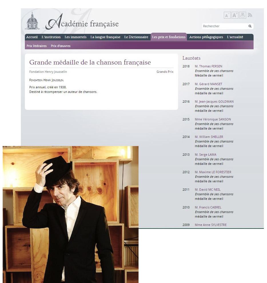 Thomas Fersen Grande médaille de la chanson française 2018 Mzodai10