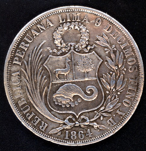 Perú, 1 sol, 1864. Peru1810