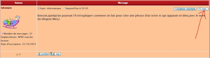 Comment faire une citation d'un message du forum ? Clik10