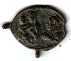 Jolie petite médaille - St Charles Borromée en prière devant ND de Mondovi - XVIIème A2910
