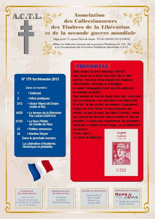 LA REVUE N° 179 1er TRIMESTRE 2013  Couver10