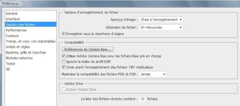 Comment configurer l'espace de travail sous PhotoShop 1710
