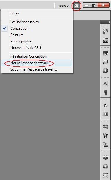 Comment configurer l'espace de travail sous PhotoShop 2610
