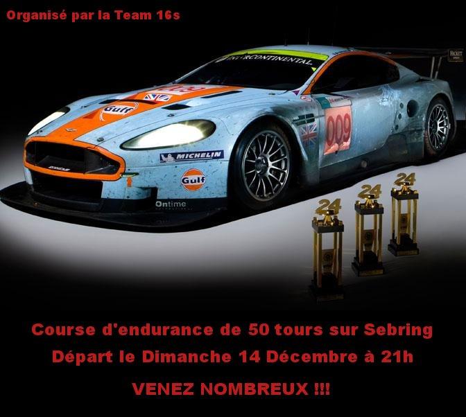 Endurance en Aston Martin DB9 Coupe sur Sebring Asazda10