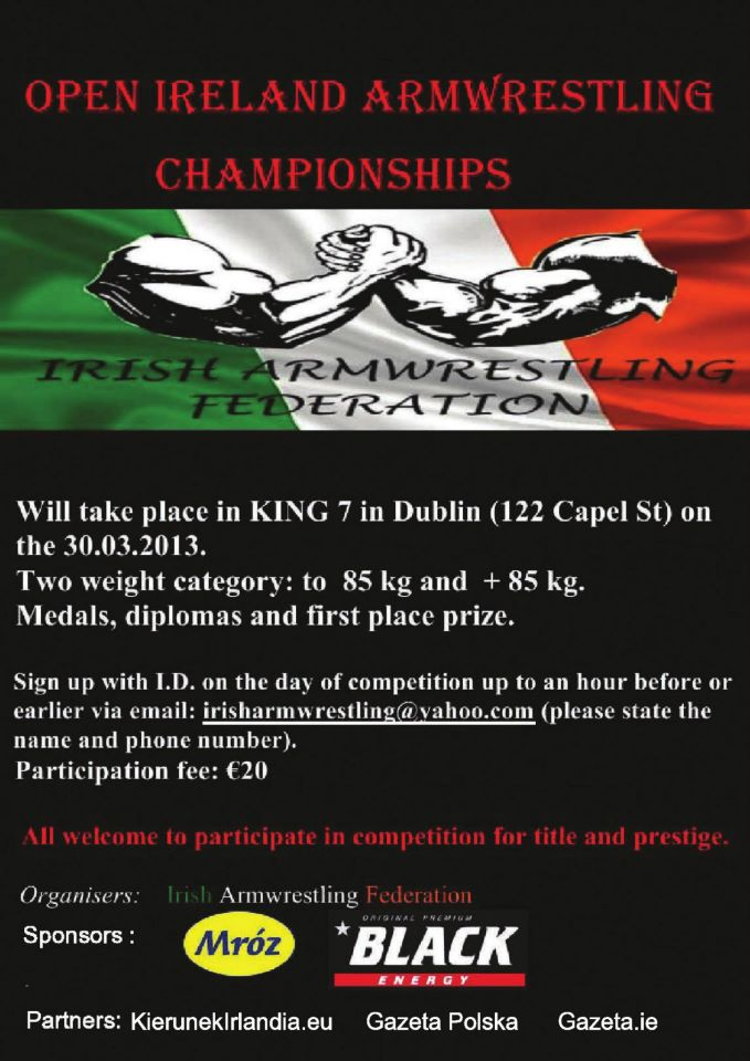 30TH MARCH , IRELAND ARMWRESTLING CHAMPIONSHIPS    55761510