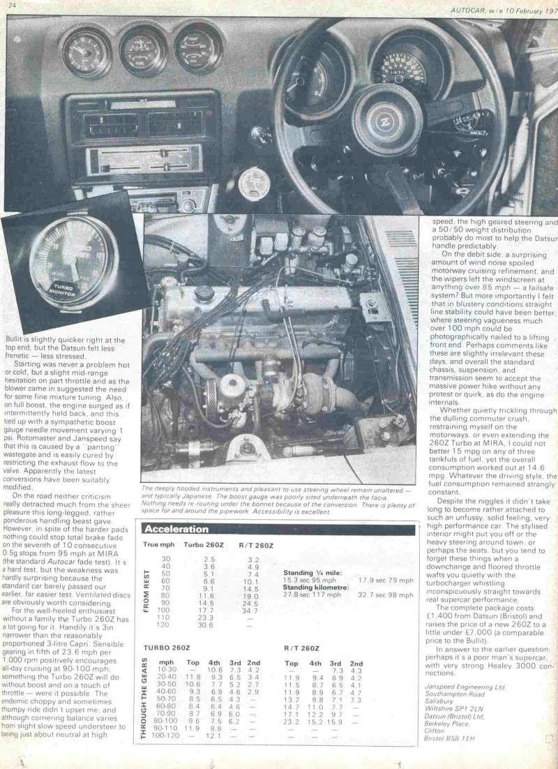 DATSUN 260Z 2+2 kit turbo Janspeed de 1977 (seule en France? Articl11
