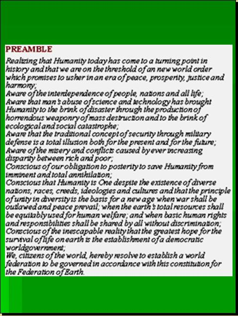 ONE WORLD CONSTITUTION - CONSTITION FOR THE FEDERATION OF EARTH (CFE) WILL REPLACE EVENTUALLY THE UNITED NATIONS CHARTER Pnypd117