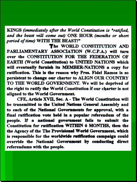 ONE WORLD CONSTITUTION - CONSTITION FOR THE FEDERATION OF EARTH (CFE) WILL REPLACE EVENTUALLY THE UNITED NATIONS CHARTER Pnypd121