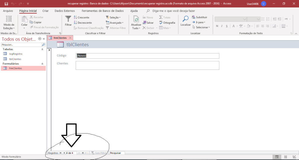 Um Botão de navegação para ir para o próximo Registro e voltar no Final Exempl11