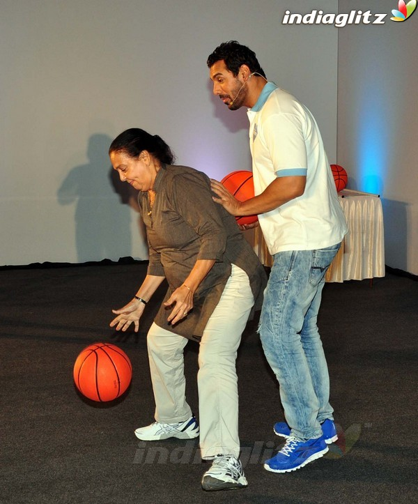 John Abraham Plays Basketball With Mom 1201510