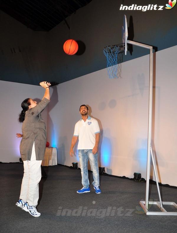 John Abraham Plays Basketball With Mom 1201610