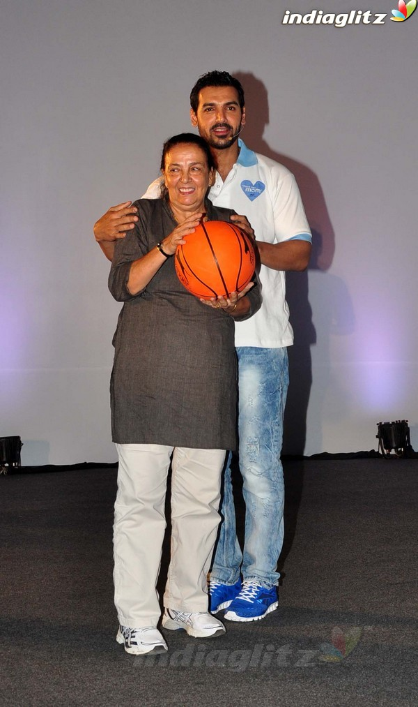 John Abraham Plays Basketball With Mom 1201710
