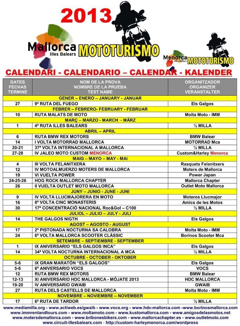 CALENDARIO MALLORCA MOTOTURISMO 2013 89446510