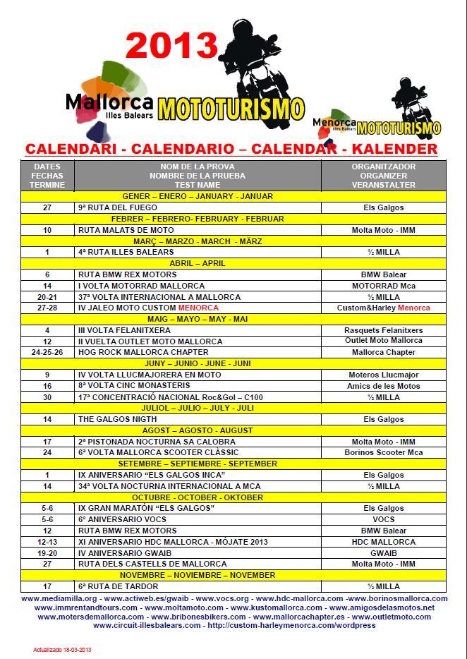 CALENDARIO MALLORCA MOTOTURISMO 2013 Calend11