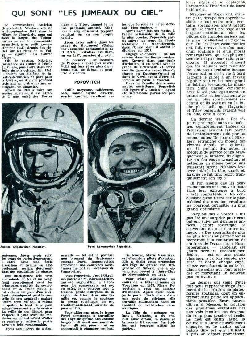 Vostok 3, Vostok 4 - 11, 12 août 1962 - 1ers vols groupés 62090112