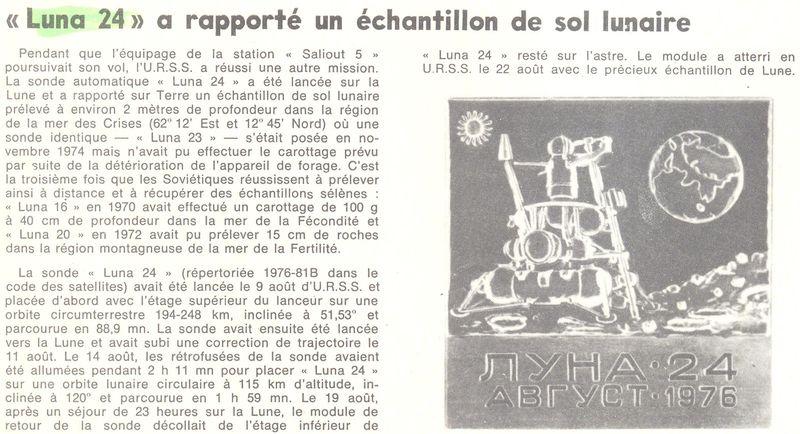 9 août 1976 - Luna 24 - Dernier retour échantillons lunaires 76082810