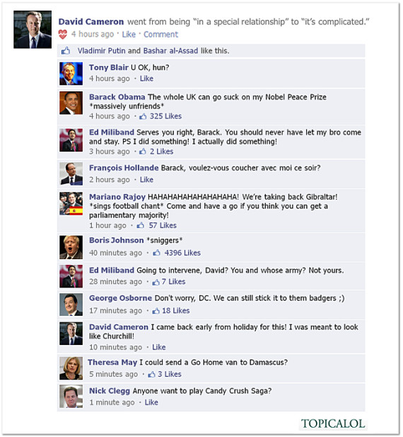 Cameron updates Facebook page O-davi10